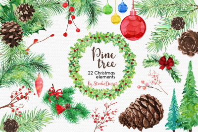 Pine Tree - Watercolor Christmas Cliparts