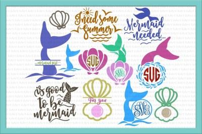 mermaid tail svg, mermaid tail monogram svg, seashell monogram svg, pearl svg, seashell svg, bundle svg, under the sea svg, sayings ,clipart
