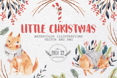 Little Christmas watercolor and vector set