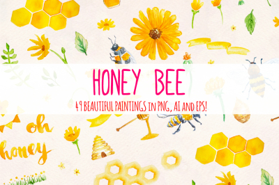49 Honey Bee Watercolor Elements