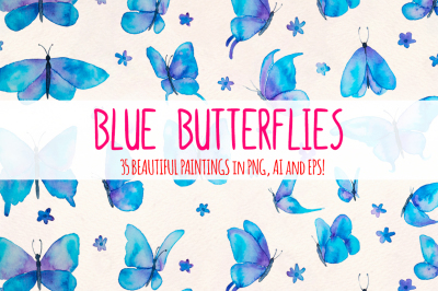 Blue Butterflies 35 Cute Elements