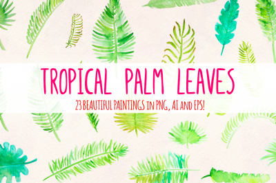 Tropical Palm Leaves 23 Elements