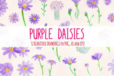 Purple Daisies 32 Watercolor Element