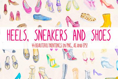 44 Watercolor Heels, Sneakers, Shoes