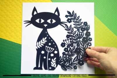 Cat Paper Cut SVG / DXF / EPS Files