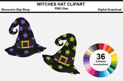 Witches Hat Clipart, 36 multi colours PNG files