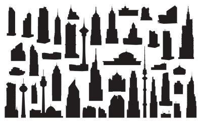 Vector silhouettes skyscrapers