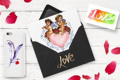 Love amour celebration PNG set
