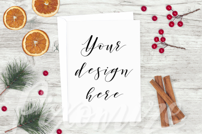 Rustic Christmas Card Mockup Photograph