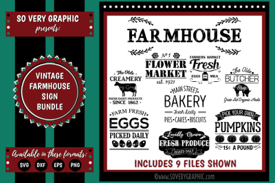 Vintage Farmhouse Bundle | 9 Cutting Files | SVG | EPS | DXF | PNG