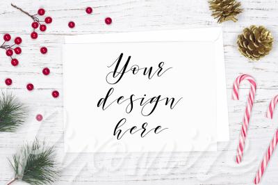 Horizontal Christmas Card Mockup Photo