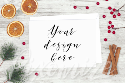Rustic Horizontal Christmas Card Mockup