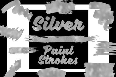 Silver Paint Strokes Clip Art Set