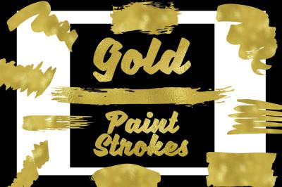Gold Paint Strokes Clip Art Set