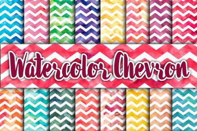 Watercolor Chevron Digital Paper Textures
