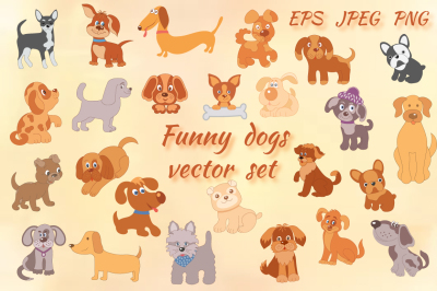 Funny dogs vector set