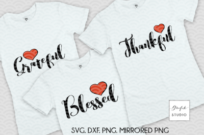 Thankful, grateful, blessed, pack of 3 fall svg files, fall svg files