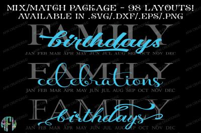 Family Birthdays & Celebrations - SVG, DXF, EPS Cut FIles