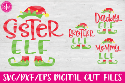 Elf Family Set of 4 - SVG, DXF, EPS Cut Files