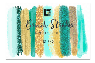 Brush Strokes Clip Art. Mint and gold.