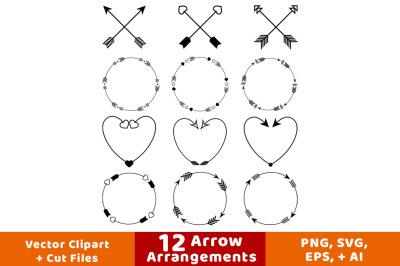 12 Arrows Clipart, Arrow Wreath Clipart, Rustic Arrow Clipart, Crossed Arrows, Decorative Arrows