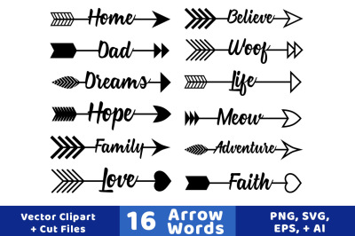 16 Arrow Words Clipart, Rustic Arrows Clipart, Arrow SVGs, Wedding Clipart, Vector Arrows, Arrow Graphics
