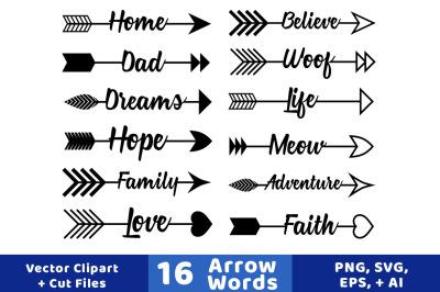 16 Arrow Words Clipart, Rustic Arrows Clipart, Arrow SVGs, Wedding Clipart, Vector Arrows, Arrow Graphics