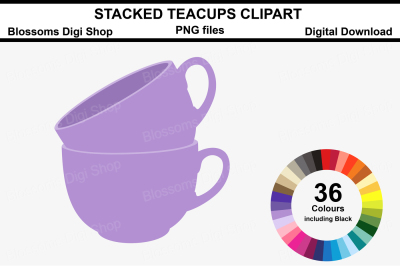 Stacked Teacups Clipart, 36 multi colours PNG files