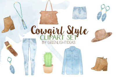 Watercolor Cowgirl Fashion Style, Country Clipart, Western Fashion