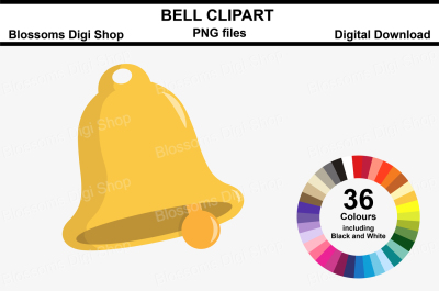 Bell Clipart, 36 multi colours PNG files