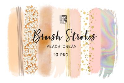 Peach cream. Brush strokes clipart