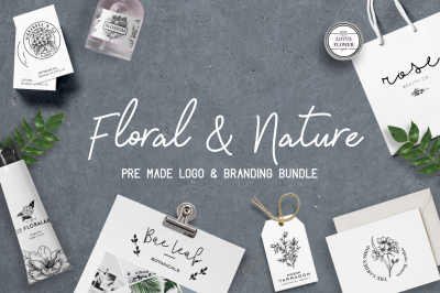 Floral logo and branding bundle