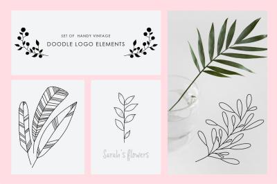 Set of vitage doodle logo elements.