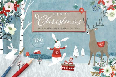Merry Christmas illustrations, cards, patterns
