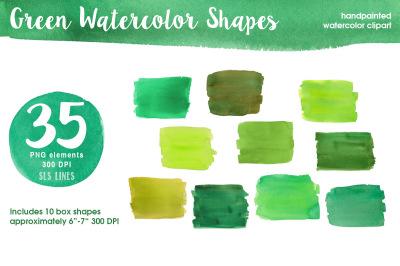 Green Watercolor Shapes
