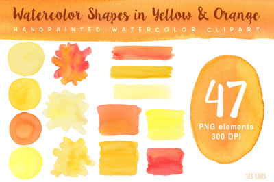 Yellow Watercolor Shapes