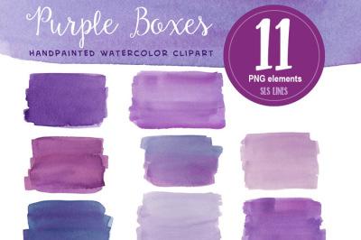 Purple Watercolor Boxes & Rectangles