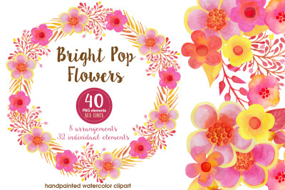 Pop Watercolor Flowers Pink Yellow