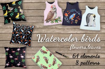 Watercolor birds,flowers,patterns.