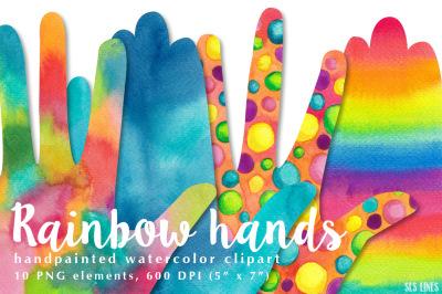 Rainbow Hands Watercolors