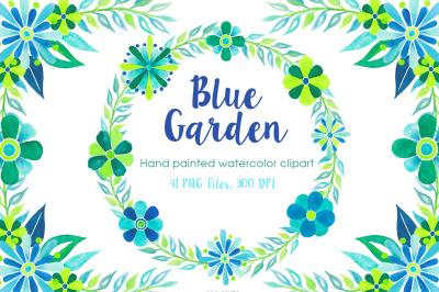 Blue & Green Watercolor Florals