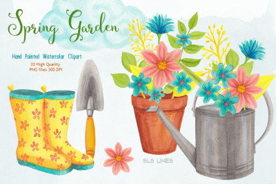 Spring Gardening Watercolor Clipart
