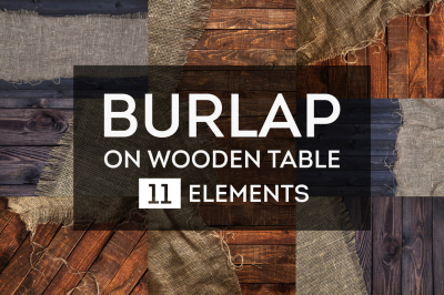Rustic burlap on a wooden table