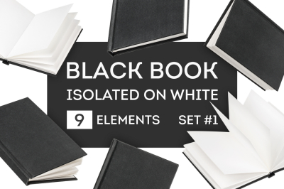 Black book mock-up isolated on white