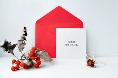 Square Greetingcard Front View Mockup 10039