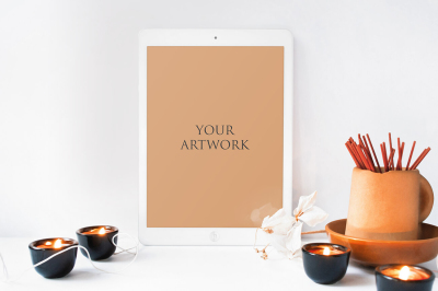 White iPad Front View Mockup10033