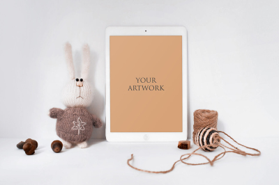 White iPad Front View Mockup 10051