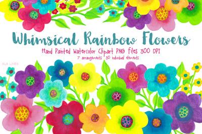 Watercolor Rainbow Flowers