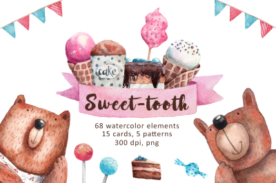 Sweet-Tooth - Watercolor Clip Art Set