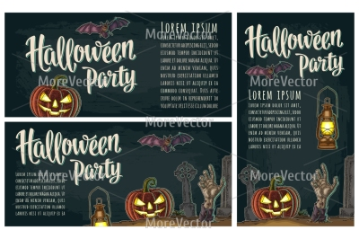 Three posters with Halloween party